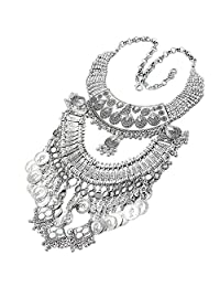 Women's Collar Fashion Jewelry Coins Pendant Bib Statement Necklace Silver Tone Mother's Day gift
