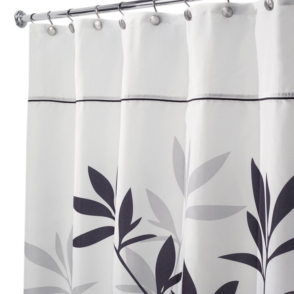 amazoncom interdesign leaves xlong shower curtain black and gray 72inch by 96inch home u0026 kitchen