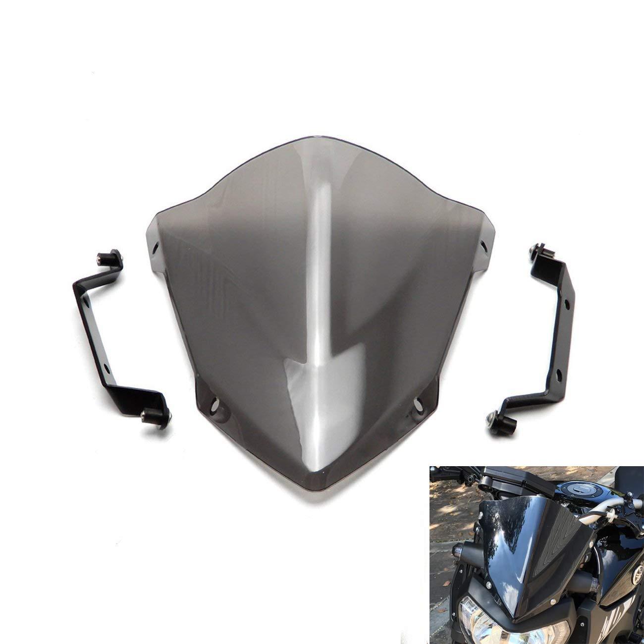 KEMIMOTO FZ 09 Windshield WindScreen + Bolts Screws Bracket For Yamaha FZ-09 FZ09 2014-2016 VicsaWin