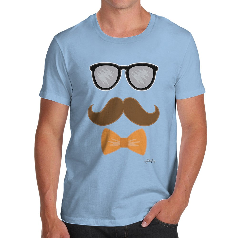 TWISTED ENVY Novelty T Shirts for Dad Glasses Moustache Bowtie Medium Sky Blue