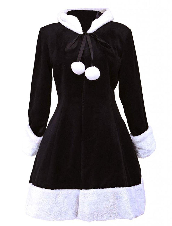 Cemavin Womens Cute Black Hood Wool Women's Lolita Overcoat