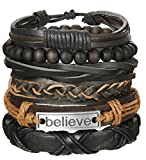 ORAZIO 6PCS Leather Bracelet for Men Womens Braided Rope Bead Bangle Cuff Bracelet,7-8 Inches Adjustable (D:6Pcs)