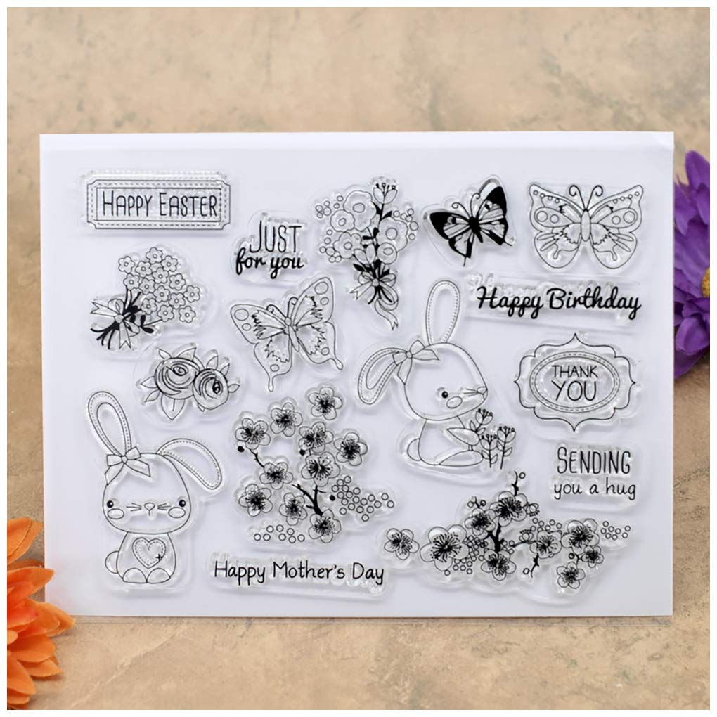 Kwan Crafts Happy Easter Happy Mothers Day Happy Birthday Flowers Butterfly Rabbit Clear Stamps for Card Making Decoration and DIY Scrapbooking