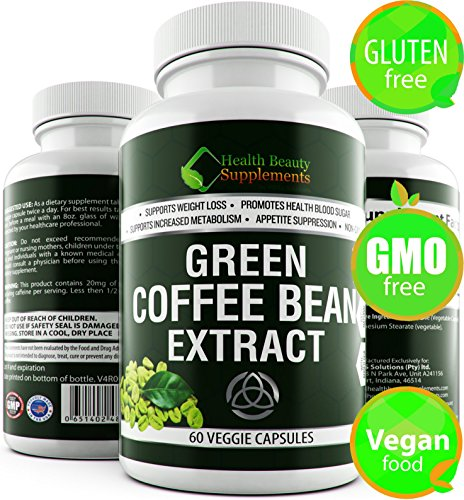 | HB&S Solutions Green Coffee Bean Extract | Fast Acting Weight Loss for Men & Women | 800mg PER Cap | 1600mg Daily | Vegan Friendly | Gluten Free | Stimulant Free Fat Burner| 800 | 60 Capsules