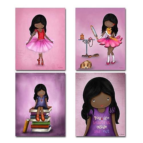 Amazon.com: Set of 4 Art Prints for Girls Room African American ...