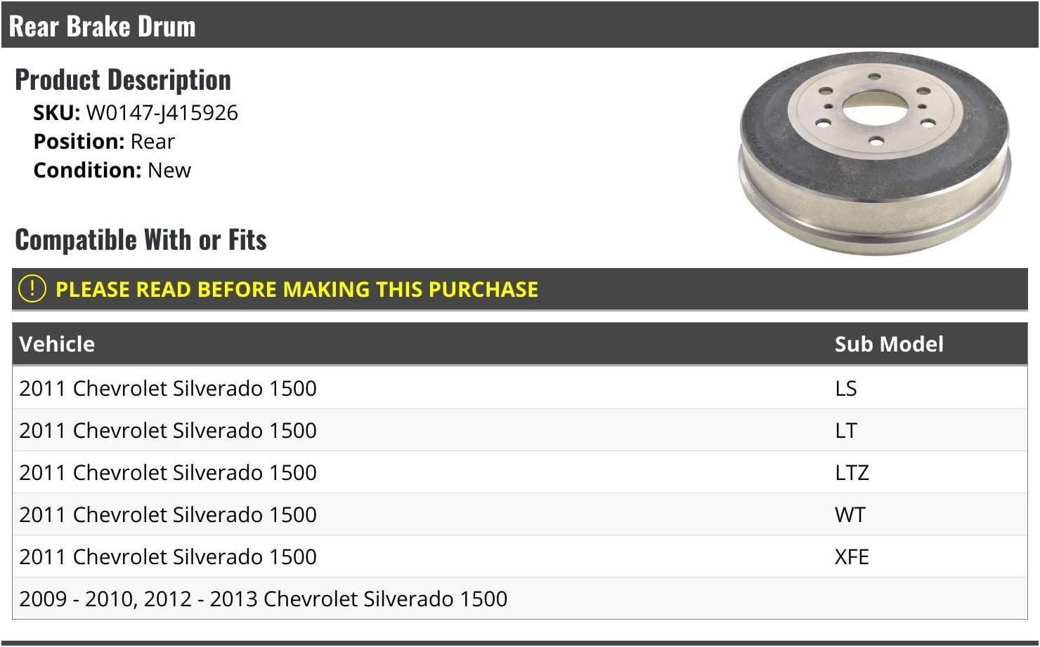 Rear Brake Drum Compatible with 2009-2013 Chevy Silverado 1500