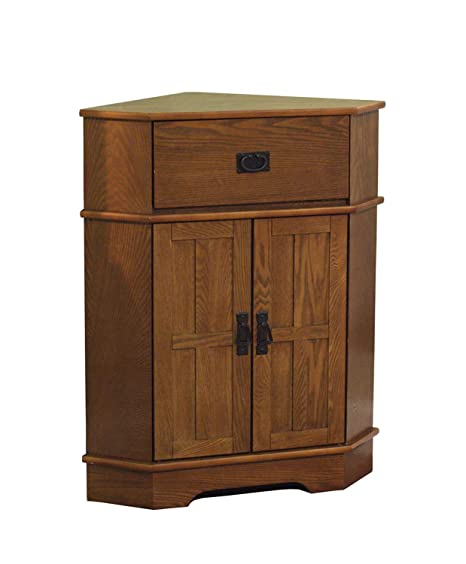 2 Door Corner Cabinet - Modern Accent Cabinet - Light Oak Finish Storage  Stand - Display Living Room Furniture