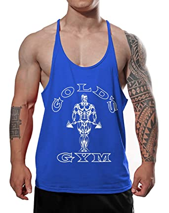 5d8b7a3faadc8 Alivegear Men s Gold s Gym Muscle Bodybuilding Stringer Tank Tops Y Back  Blue Color ...