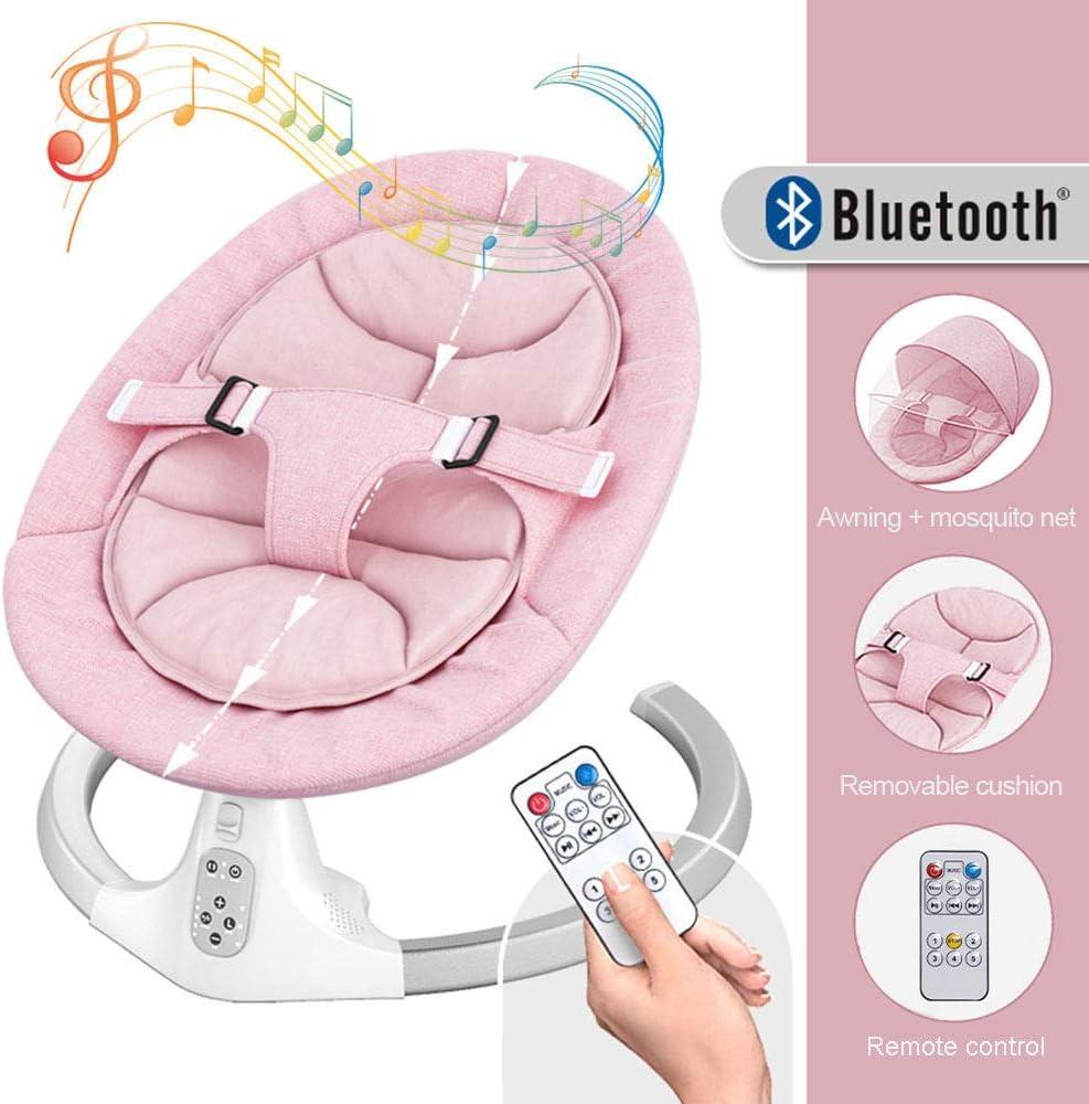 HWHSZ BalancíN De Bebé A NiñO PequeñO, Silla Y BalancíN Smart Bluetooth Electric Baby Bouncer, Columpio De Cinco Velocidades, SincronizacióN De Tres Velocidades, 12 MúSica De RepeticióN,Pink