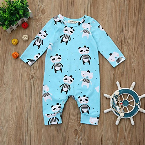 Fineser Infant Baby Boys Girls Cartoon Panda Print Romper Jumpsuit Long Sleeve Onesies Bodysuit