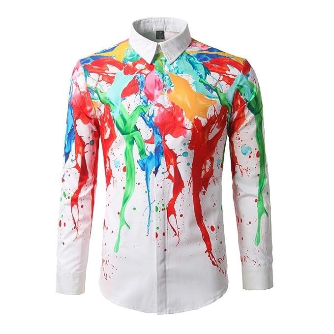 Resplend Blusa Superior de Manga Larga de Color Liso de algodón de Manga Larga para Hombre