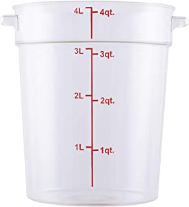 Caspian 4 Qt. Clear Round Storage Box Container with Red Gradations Plastic Space Saving For Home or Commercial Kitchen use, Food Prep and Storage, 1 Piece (4QT)