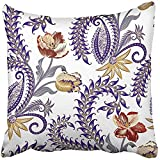 Throw Pillow Cover Square 18x18 Inches Brown Flowers with Paisley Decorated Twirl Colorful Yellow Tulips Gray Blue Curls Intricate Antique Polyester Decor Hidden Zipper Print On Pillowcases