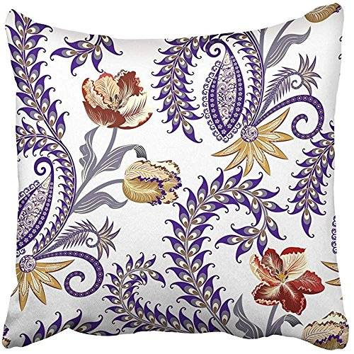 Throw Pillow Cover Square 18x18 Inches Brown Flowers with Paisley Decorated Twirl Colorful Yellow Tulips Gray Blue Curls Intricate Antique Polyester Decor Hidden Zipper Print On Pillowcases by Starosa