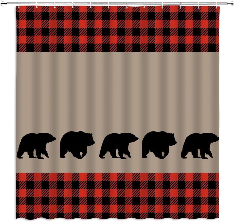 Black Bear Plaid Shower Curtain Woodland Camping Cabin Wildlife Bear Silhouettes Red Black Buffalo Check Vintage Farm Rustic Fabric Bathroom Decor Curtain with 12 Hooks,71x71 Inch,Orange Taupe