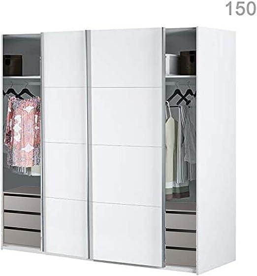 HABITMOBEL Armario Dormitorio Blanco 204 Puertas correderas, Fondo ...