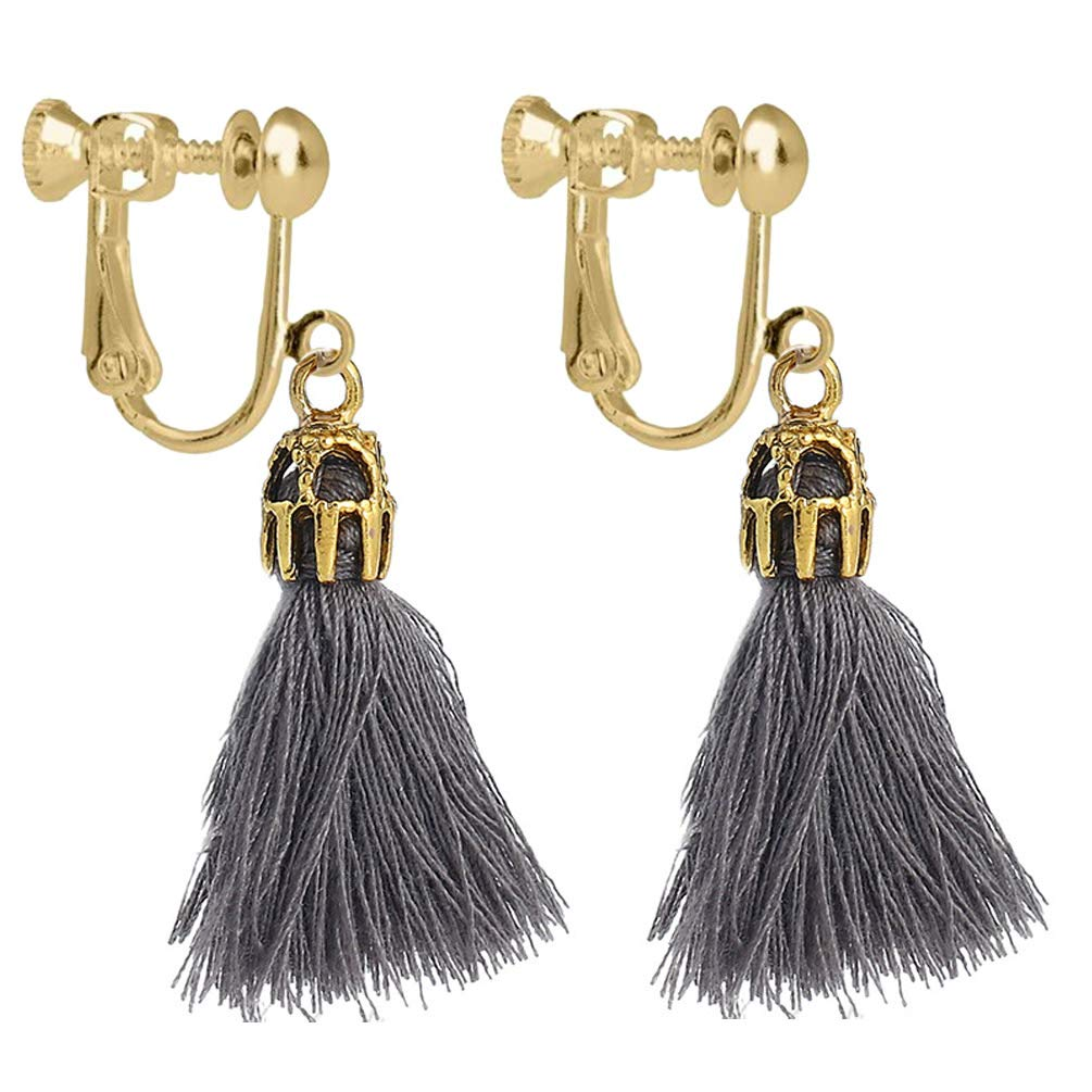 Girls Vintage Hollow Crystal Tassel Dangle Clip on Earrings Jewelry Thread Bohemia Statement