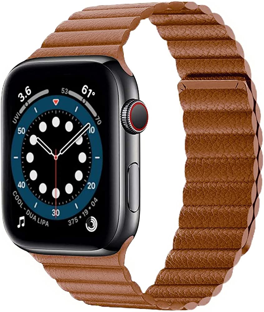 Compatible with Apple Watch Bands for Series 1 2 3 4 5 6 SE, sizes 44mm 38mm 40mm 42mm, for Women & Men, Magnetic Leather Loop Band