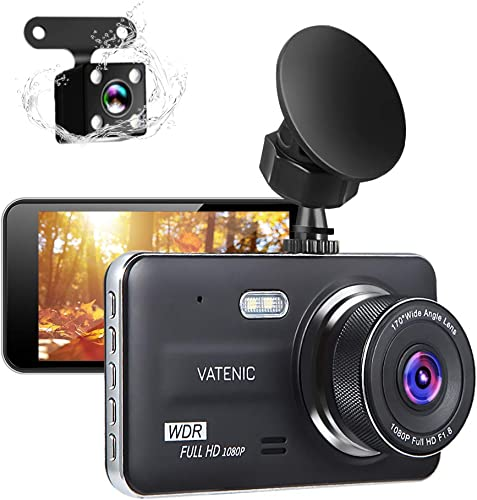 New Upgrate Dual Dash Cam Car Camera Recorder Full HD 1080P Front and Rear Cameras,Driving Loop Recording with 4.0 IPS Screen 170 Wide Angle, WDR,Parking Monitor, G-Sensor, Night Vision 4.0