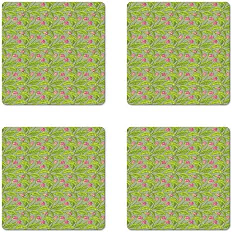 Ambesonne Botanical Coaster Set of 4, Floral Pattern Cartoonish Turmeric Flower Blossom, Square Hardboard Gloss Coasters for Drinks, Pistachio Green Apple Green Pink