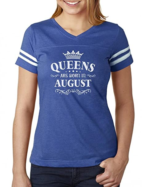 2e26820f2 Birthday Gift for Women Queens are Born in August Women Football Jersey T- Shirt Small