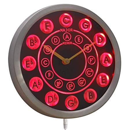 ADVPRO nc0945-b Circle of Fifths Guitar Music Neon Sign LED Wall Clock