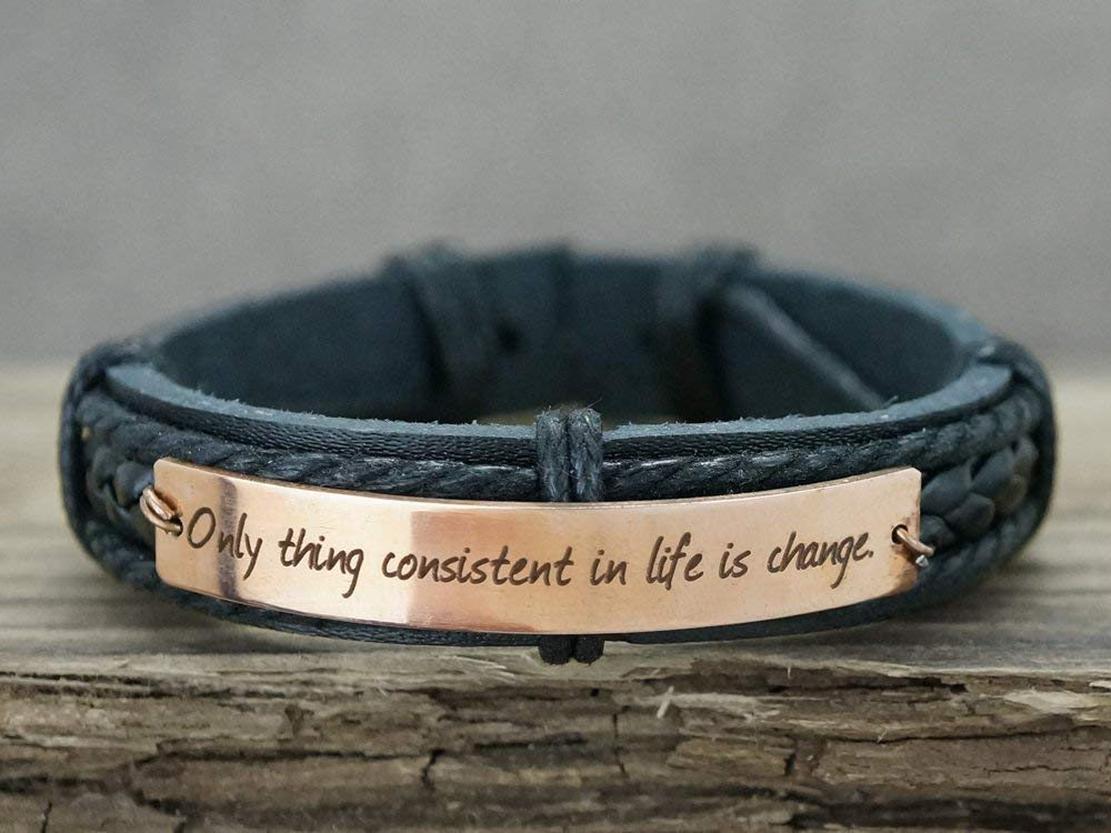Custom Personalized Leather Women Bracelet Copper plate unisex leather with plate Leather Bracelet engraved gift for him coordinates