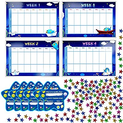 """SpriteGru Potty Training Reward Chart with 4X Waterproof Weekly Charts, 6X Diploma, 600X Colorful Stars. Perfect for Multiple Toddlers' Motivational Toilet Training (Each Chart 11"""" X 7"""")"""