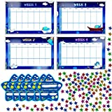 Potty Training Reward Chart with 4X Waterproof Weekly Charts, 6X Diploma, 600X Colorful Stars. Perfect for Multiple Toddlers' Motivational Toilet Training (Each chart 11