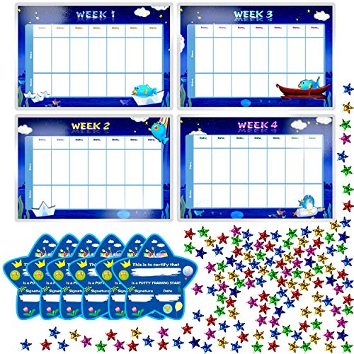 (Potty Training Reward Chart with 4X Waterproof Weekly Charts, 6X Diploma, 600X Colorful Stars. Perfect for Multiple Toddlers' Motivational Toilet Training (Each Chart 11