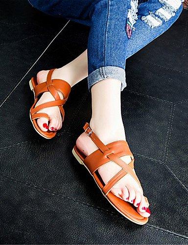 LFNLYX Zapatos de mujer-Tacón Plano-Comfort-Sandalias-Exterior / Casual / Vestido-Materiales Personalizados-Negro / Marrón / Plata Black