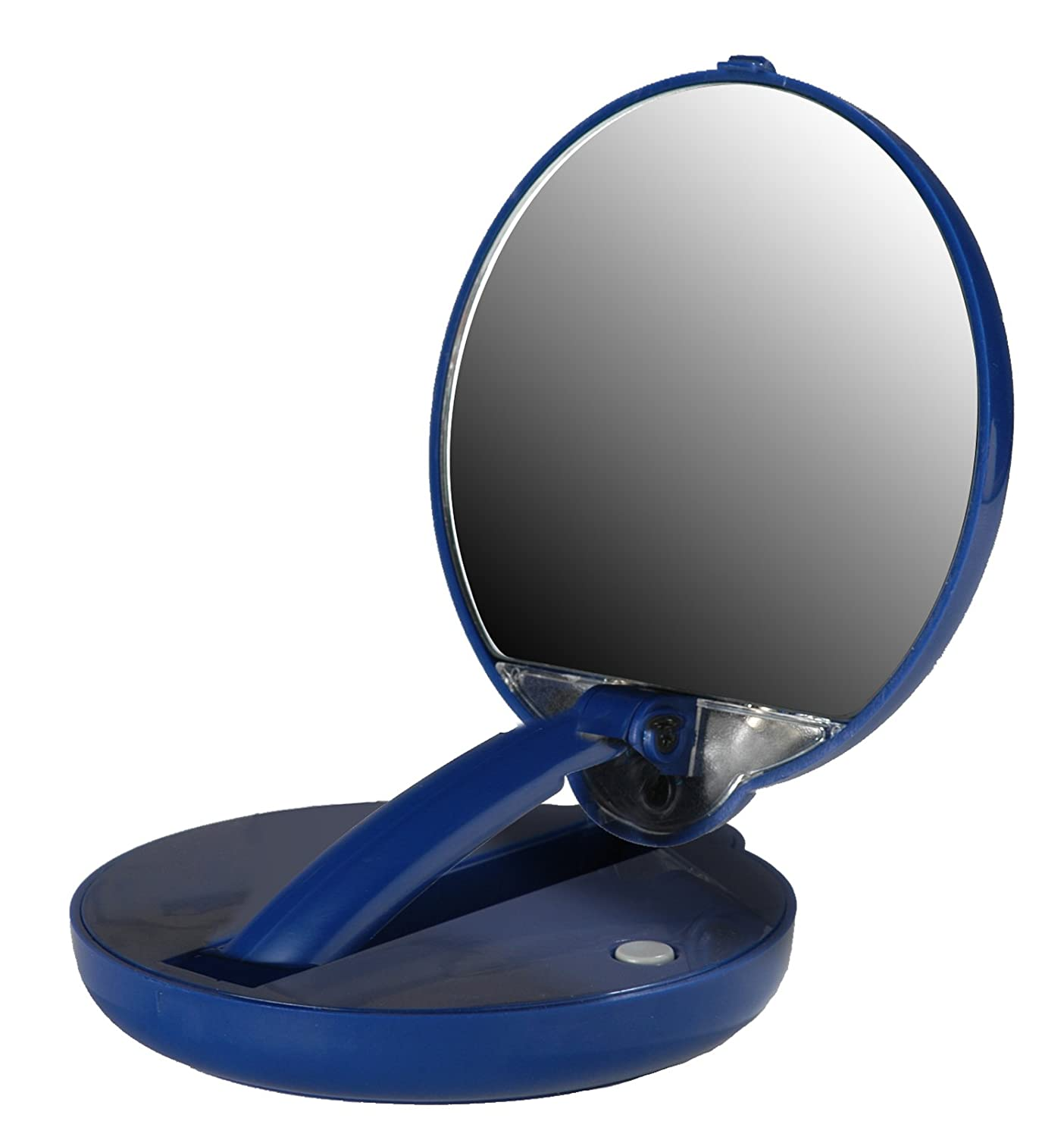 Lighted Adjustable 10X Mirror Compact in Blue Case Floxite Company Inc. FL10-ACP