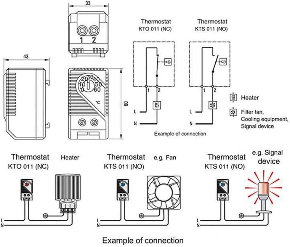 r/églage de fonctionnement facile Contr/ôleur de temp/érature filtre de chauffage bleu mini thermostat m/écanique compact interrupteur de mesure ventilateur appareil de signal domestique