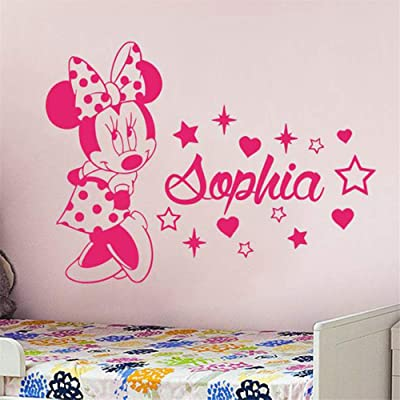 DD-decal Minnie Mouse Stickers Minnie Mouse Decals Custom Name Minnie Mouse Sticker Personalized Girl Name Decor Bedroom Nursery Baby Room Decoration: Home & Kitchen