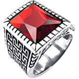 Konov Jewellery Mens Crystal Stainless Steel Ring, Classic Gothic Signet, Color Red Silver (with Gift Bag)