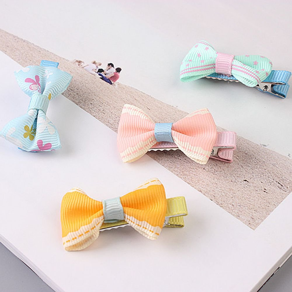 topbuyer Pet Bow Hairpins Kitten Puppy Floral Solid Cotton Butterfly Hair Clips Hair Barrette Dog Cat
