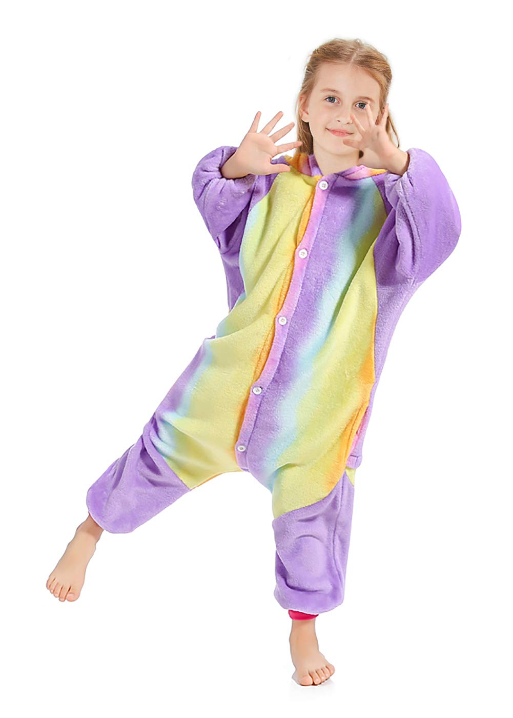OPCOLV 5T 6T Girls Fleece Night Wear Bodysuit with Cute Tail Kids Cool Animal Pattern Warm Pajamas One-Piece Sleepsuit for Tiny Cosplay 5-7 Years by OPCOLV