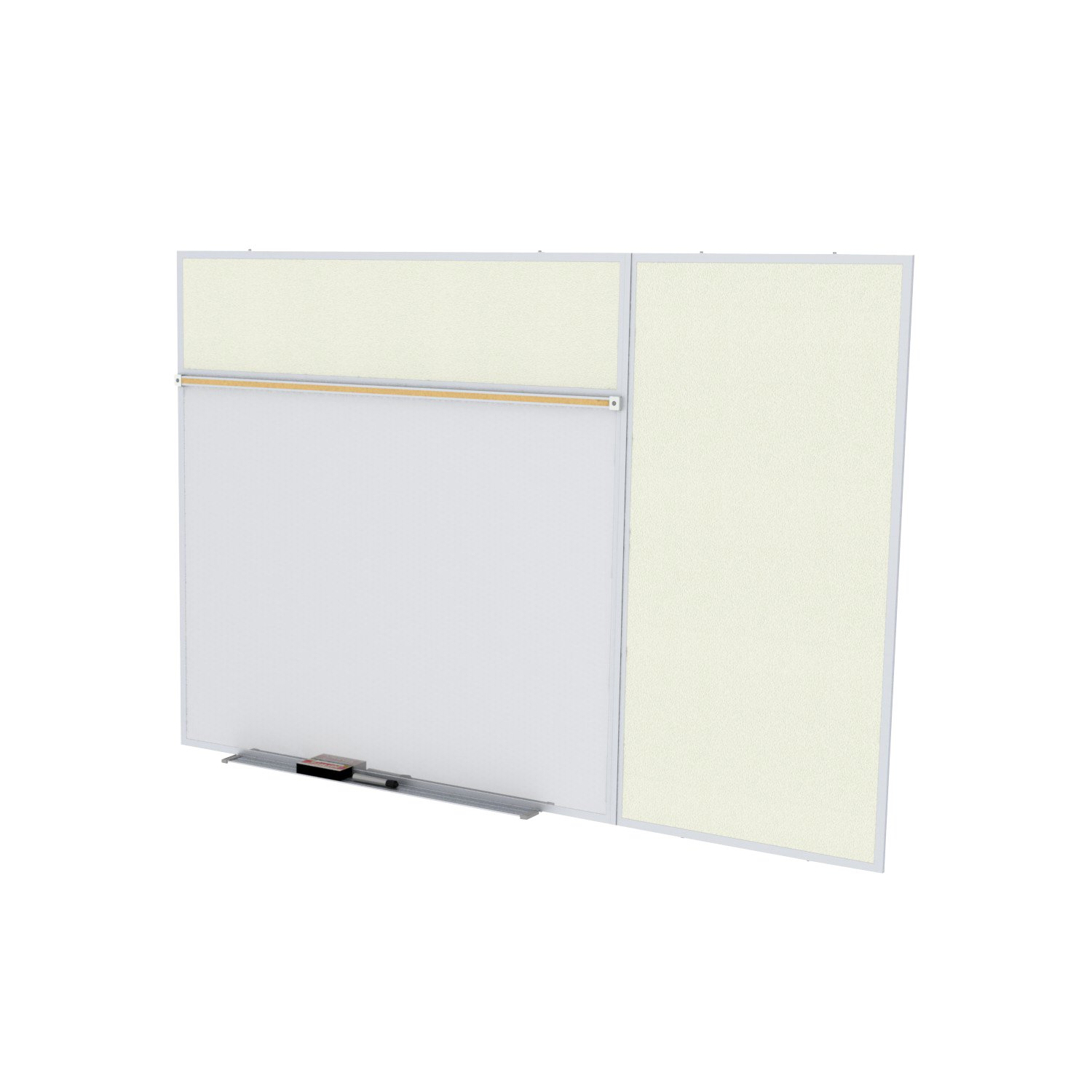 Ghent 4 x 8 Feet Combination Board, Porcelain Magnetic Whiteboard and Vinyl Fabric Bulletin Board, Ivory , Made in the USA