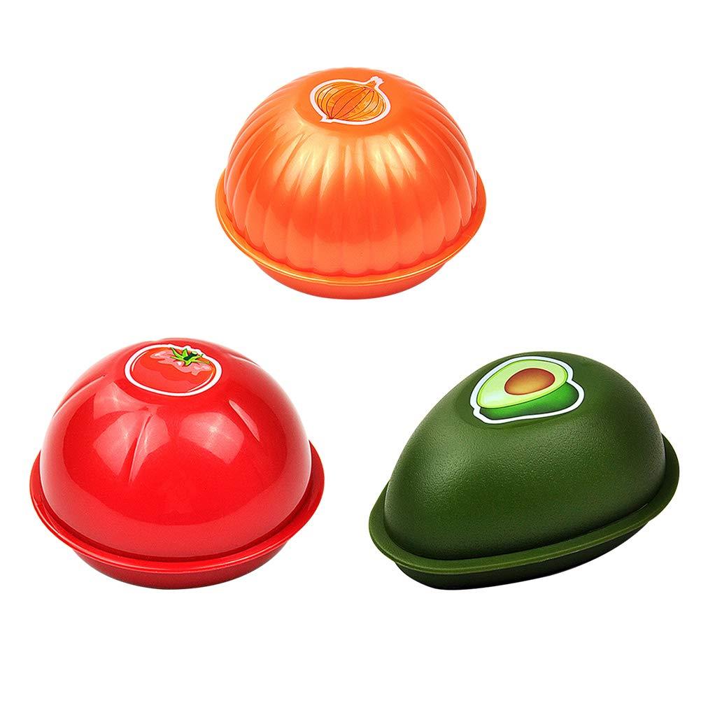 Tomate ) BESTONZON Organizador Almacenamiento para Alimento en Forma de Fruta Contenedores de Almacenamiento de Alimentos 3 Piezas (Aguacate Cebolla
