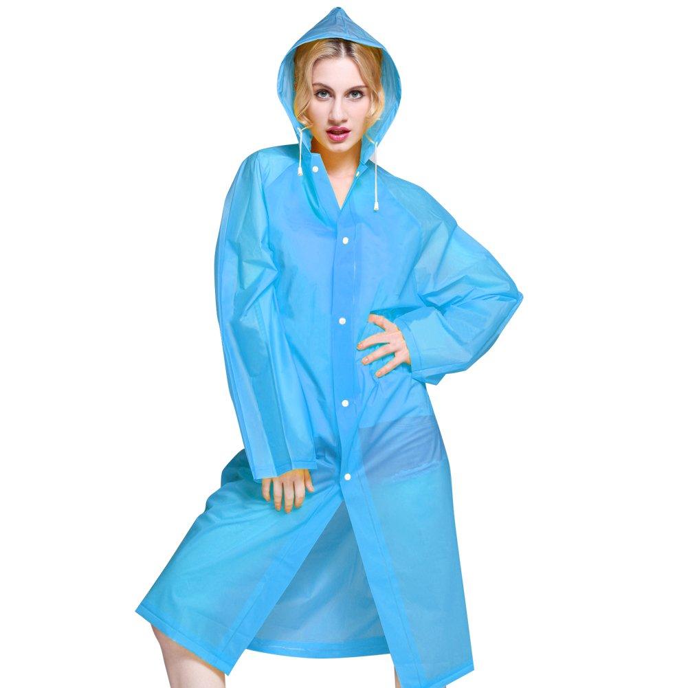 Chubasquero neutral en color azul con capucha.