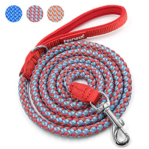 Fairwin Rope Dog Leash, 6 Foot Rope Reflective Braided Dog Leash for Large Medium Small Dogs Training with Padded Handle(6 foot,Red+Blue) by Fairwin
