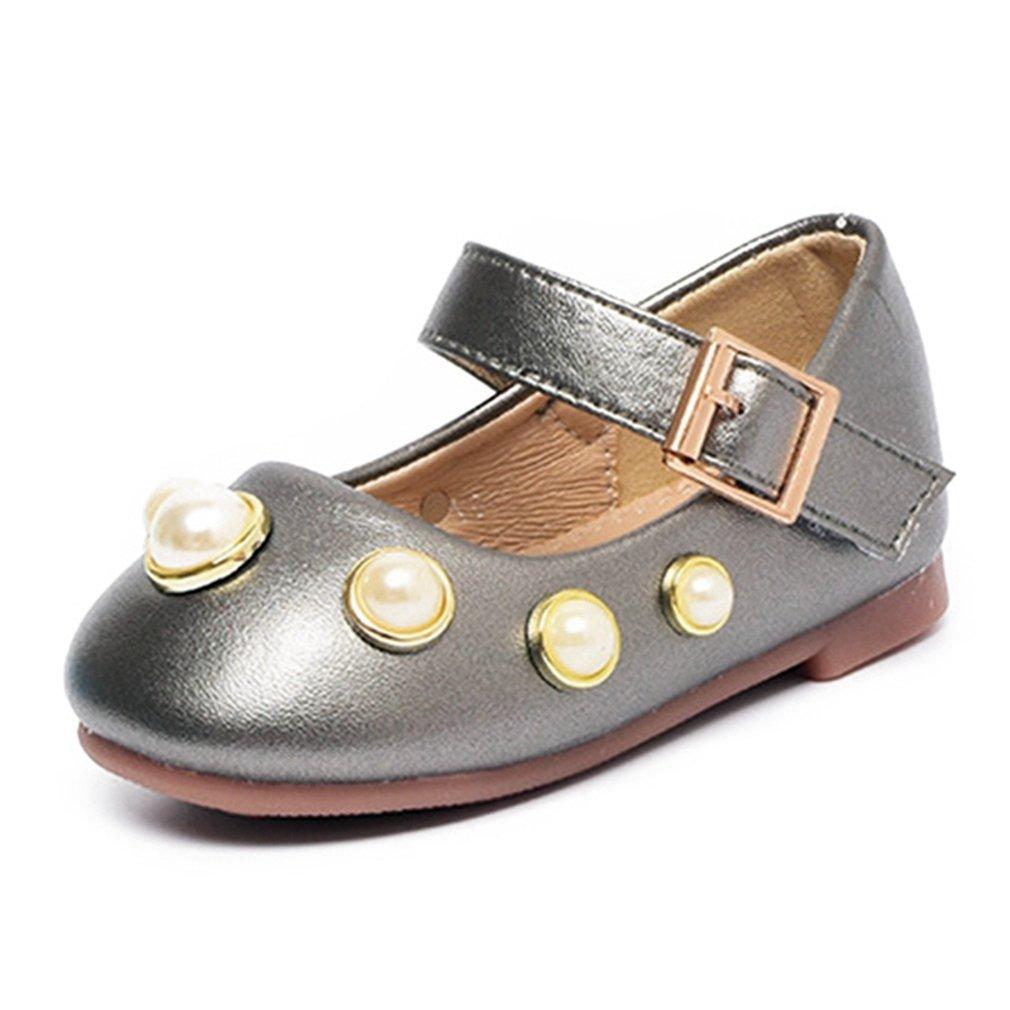 CYBLING Toddler Little Girl's Metallic Ballerina Flats Cute Princess Dress Shoes Mary Janes