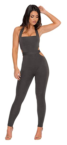 b4b3885433b9 Longwu Womens Sleeveless Bodysuit Halter Backless Elastic Tight Fitting Sexy  Jumpsuit Grey-L