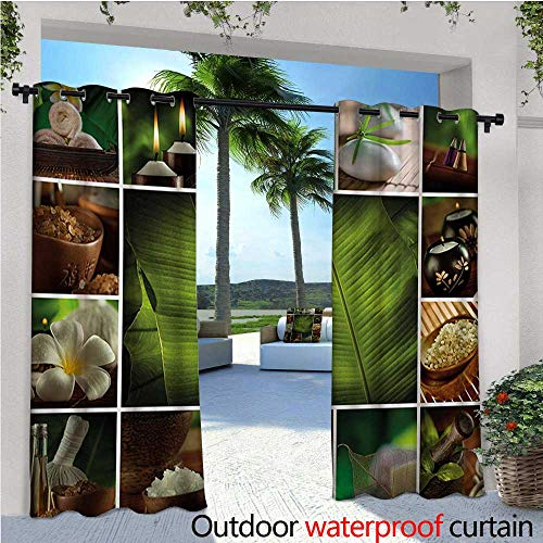 Salt Mill Satin - Spa Outdoor Privacy Curtain for Pergola Collage of Candles Stones Herbal Salts Towels Botanic Plants Design Print Thermal Insulated Water Repellent Drape for Balcony W72