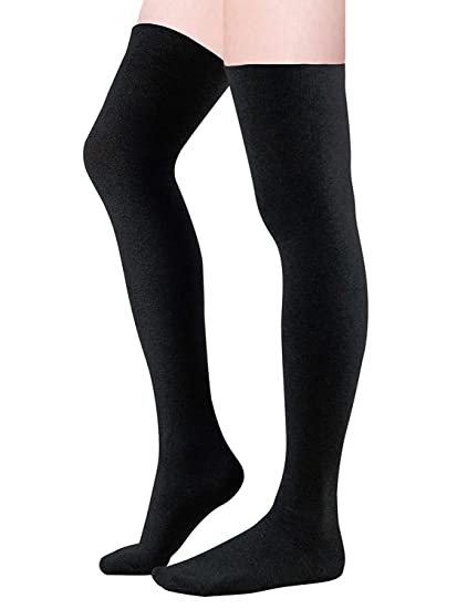 6e8368617 Zando Women Plus Size Thigh High Socks Over Knee Tube Stocking Sock Cotton  High Leg Warmers