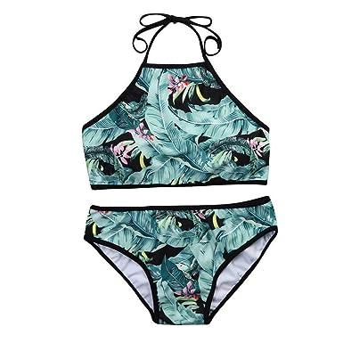 695772c25ef1 Amazon.com: Dressin Women's Swimsuit Leaves and Flower Print Bikini ...