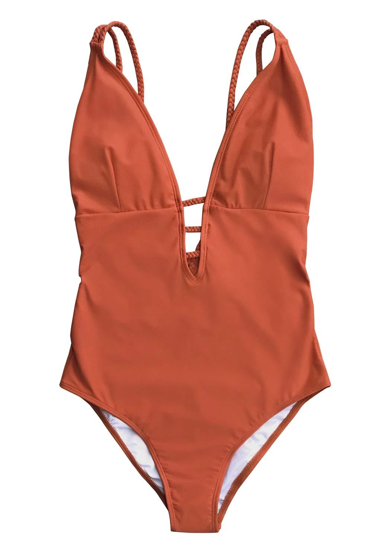 CUPSHE Women's Orange Braided Strap One Piece Swimsuit Small