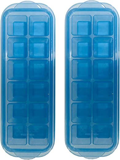 InddusHome Small POP-UP Ice Cube Tray with Flexible Silicon Bottom and Lid, 12 Cube Trays (Multicolor - Pack of 2)