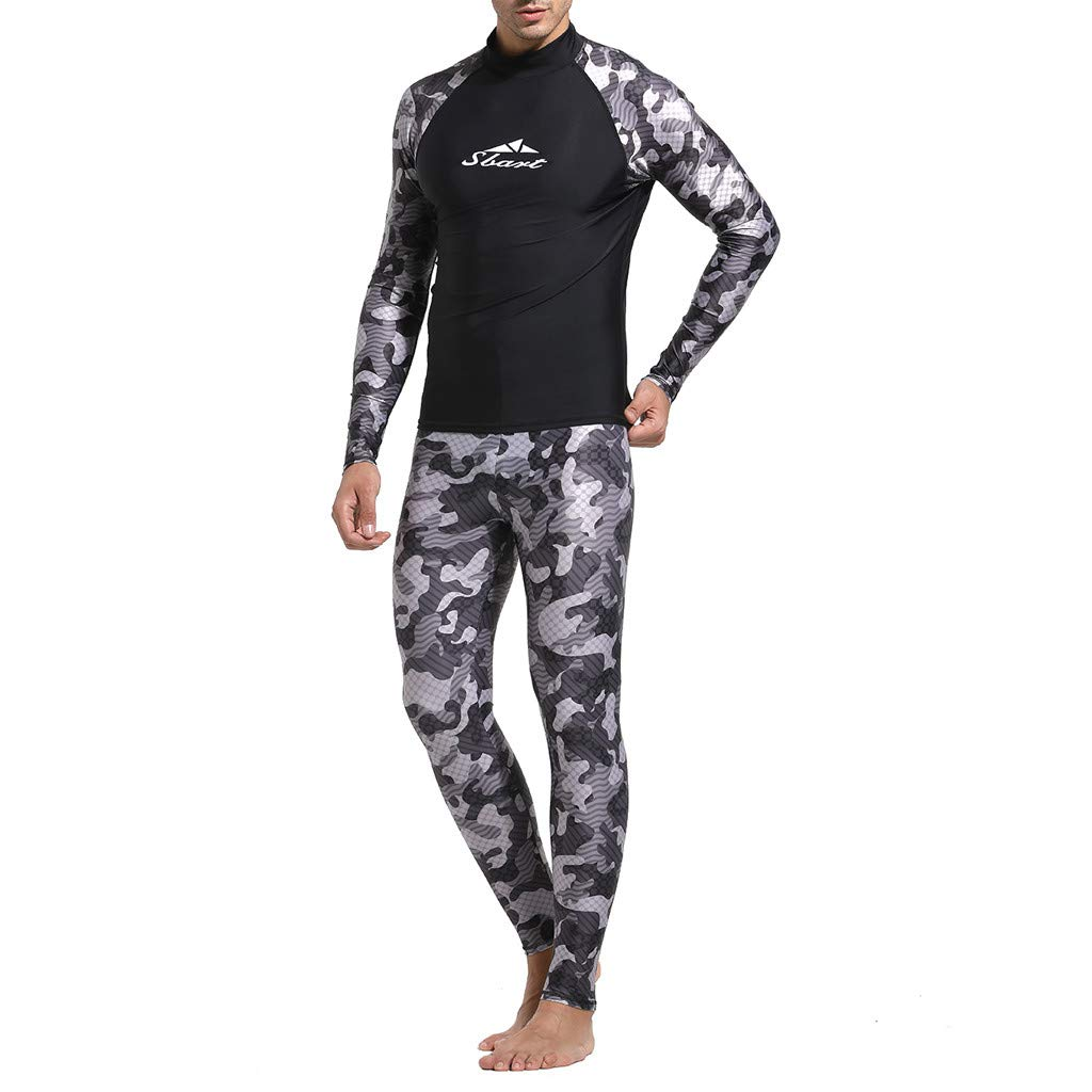 Yliquor Mens Swim Shirt Diving Camo Rashguard Surf Shirts Beach Swim UV Protection suitTraining Breathable Elastic Quick Dry Classic Comfy Fashion