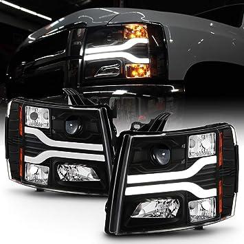 ACANII For 2007-2013 Chevy Silverado 1500 2500 3500 Black Housing LED Tube Projector Headlights Headlamps Left+Right